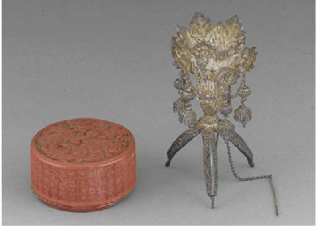 A Chinese lacquer box and cove