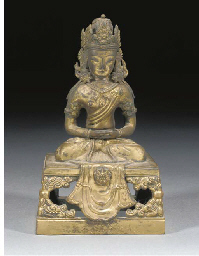 A Chinese gilt copper figure o