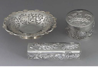 A Chinese silver box and cover