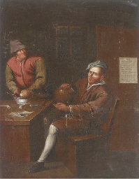 Two men smoking and drinking i