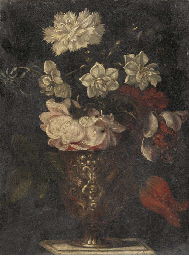 A rose, carnation, narcissi an