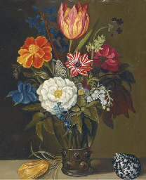Mixed flowers in a glass vase,