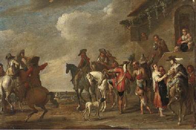 Cavalrymen at halt by an inn