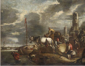 Stevedores at a harbour