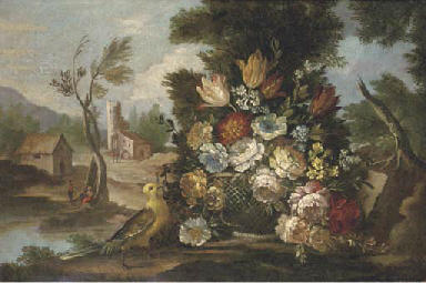 Mixed flowers in a basket in a