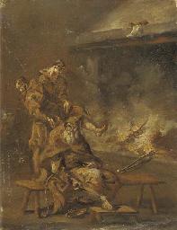 Capuchin friars by a fire