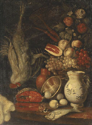 A basket of fruit, salmon, egg