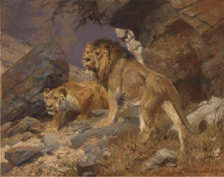 A lion and lioness on a rocky