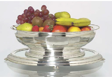 (2) A large silver dish and mi