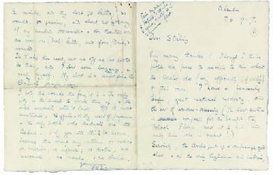 LAWRENCE T.E. Autograph letter signed (