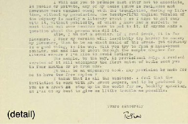 LAWRENCE, T.E. Typed letter si