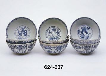 FIVE UNDERGLAZE BLUE AND WHITE