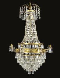 A gilt brass and cut glass eig