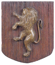 A painted wood heraldic panel