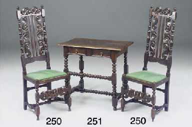 A PAIR OF ENGLISH CARVED OAK H
