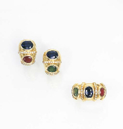 A SAPPHIRE, RUBY AND EMERALD R