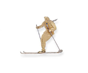 A GOLD 'CHASSEUR ALPIN' BROOCH