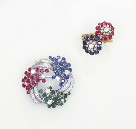 A GEM-SET BROOCH AND RING