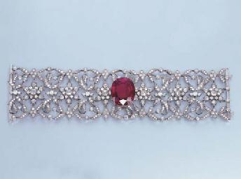 A RUBELLITE AND DIAMOND BRACEL