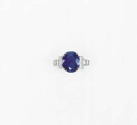 A SAPPHIRE AND DIAMOND SINGLE-