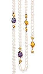 A CULTURED PEARL, AMETHYST AND