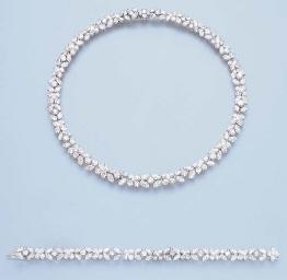 A DIAMOND NECKLACE AND BRACELE