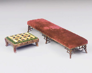 A DIRECTOIRE WALNUT FOOTSTOOL