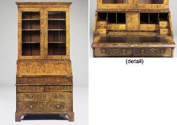 A GEORGE I WALNUT BUREAU-BOOKC