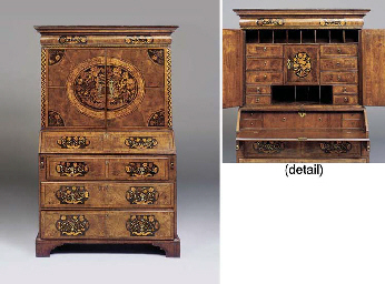 A QUEEN ANNE WALNUT AND MARQUE