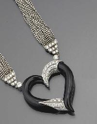 An onyx and diamond heart neck