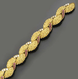A 18ct. gold, ruby and diamond