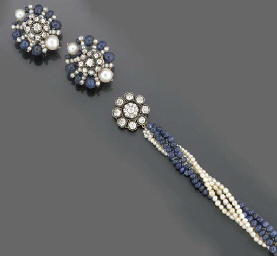 A diamond, sapphire bead and c