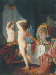 A young lady at her toilette