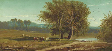 Landscape with cattle by a str