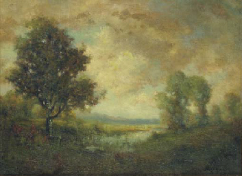 A Barbizon landscape at dusk