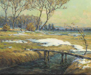 A landscape with a stream, lat