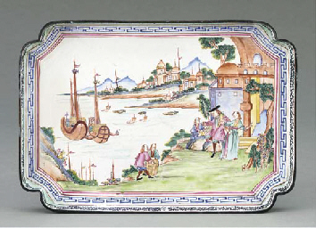 A CHINESE CANTON ENAMEL TRAY,