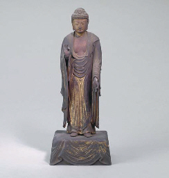 A JAPANESE AMITABA WOOD BUDDHA