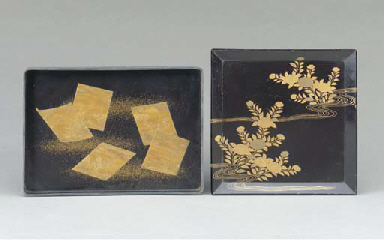 THREE JAPANESE BLACK AND GILT