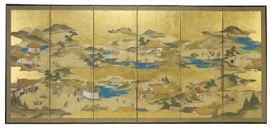 A JAPANESE SIX-PANEL SCREEN,