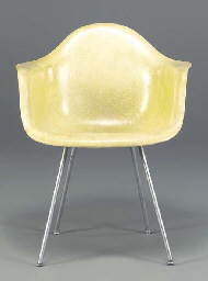 A YELLOW MOLDED FIBERGLASS AND