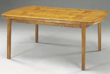 A FIGURED WALNUT DINING TABLE,