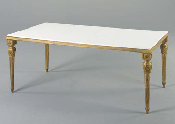A WHITE MARBLE AND GILT-METAL