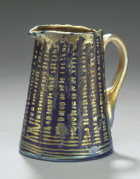 A 'LAVA' FAVRILE GLASS PITCHER