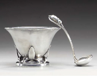 A SILVER BOWL AND SPOON