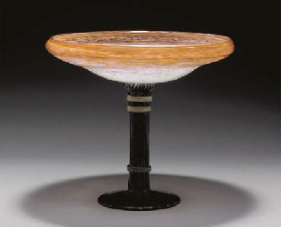 AN APPLIED GLASS TAZZA