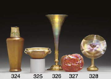 A GOLD FAVRILE GLASS AND GILT-