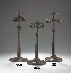 A BRONZE 'STICK' TABLE LAMP BA