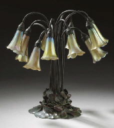 A BRONZE LILY TABLE LAMP
