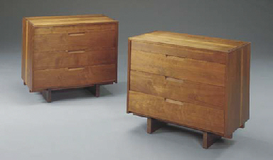 A PAIR OF WALNUT CHESTS OF DRA